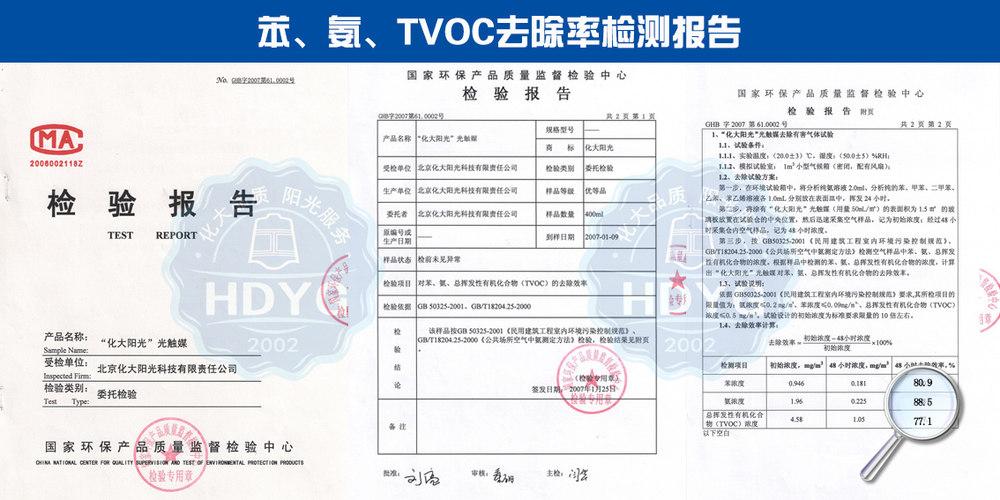 化大阳光苯、氨、TVOC去除率监测报告